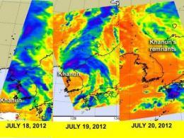 NASA's Aqua Satellite sees Khanun's remnants dissipating over China