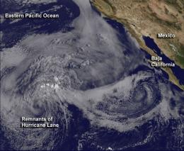 Satellite sees post-Tropical Cyclone Lane fizzle in a blanket of low clouds