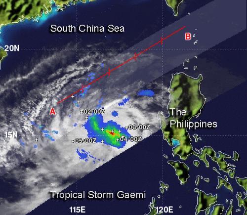 NASA sees Tropical Storm Gaemi's heaviest rainfall around center