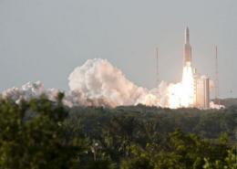 An Ariane-5 rocket blasts off from the European space centre at Kourou