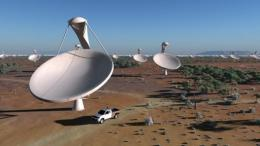 An artist impression of the future Square Kilometre Array (SKA) radio telescope