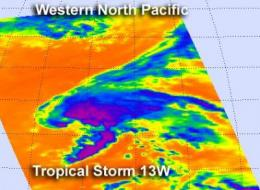 NASA's Aqua satellite shows strongest side of Tropical Storm 13W