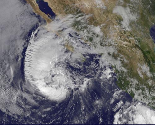 Satellite sees Miriam weaken to a tropical storm