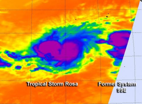 NASA sees Tropical Storm Rosa's rains southeast of center