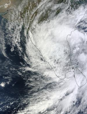 NASA sees Tropical Depression Nilam blanket southern India