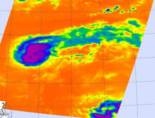 Tropical Storm Kirk looks more like a comet on NASA infrared imagery