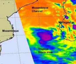 NASA sees tropical storm Irina hit by wind shear, headed for Mozambique