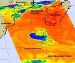 NASA sees Tropical Storm Irina heading back toward African mainland