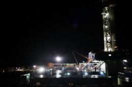 A Cabot Oil and Gas natural gas drill stands at a hydraulic fracturing site in January 2012 in Springville, Pennsylvania