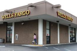 A customer enters a Wells Fargo Bank branch office in Daly City, California