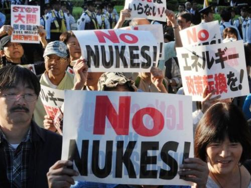 A demonstration in Tokyo denoucing the Japanese government's plan to resume nuclear power use on October 13, 2012