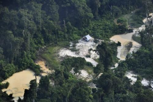 Aerial view of a clandestine gold mine in the Jamanxim National Forest, state of Para, in northern Brazil