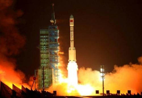 A Long March rocket blasts off from the Jiuquan launch centre in Gansu province
