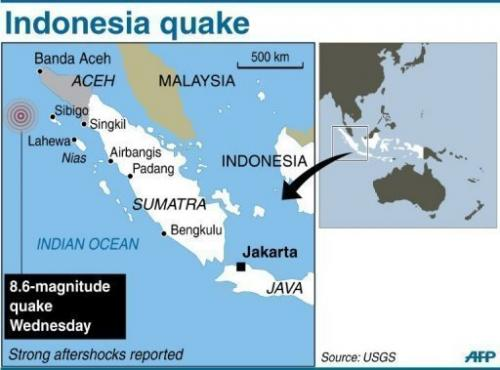 A map of Indonesia's Sumatra locating the 8.6-magnitude quake