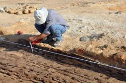 An archaeologist is seen working on the skeleton of a wooden boat at the Abu Rawash
