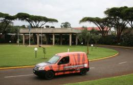 An electric-powered van leaving the UNEP headquarters in Nairobi