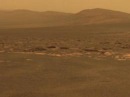 A part of the west rim of Endeavour Crater sweeps southward in this image from NASA's Mars Exploration Rover Opportunity