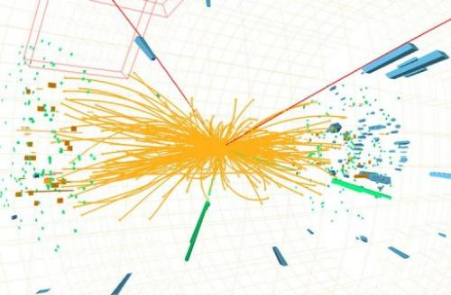 A representation of traces of a proton-proton collision measured in the search for the Higgs boson