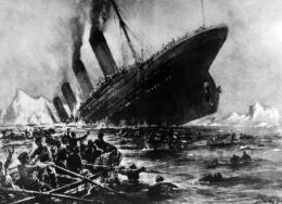 Artist impression showing the  1912 shipwreck of the British luxury passenger liner Titanic