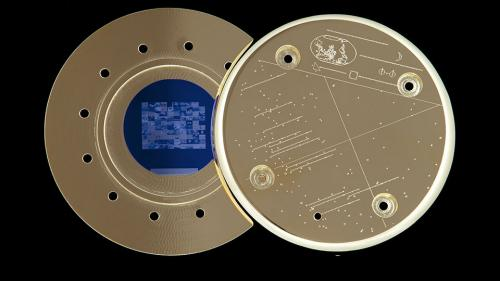 Artist to send etched disc into orbit—with a satellite's help—to serve as time capsule