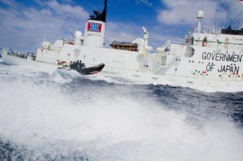 A Sea Shepherd vessel approaches the Japanese whaling vessel Shonan Maru #2