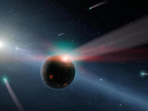 A storm of comets around star Eta Corvi