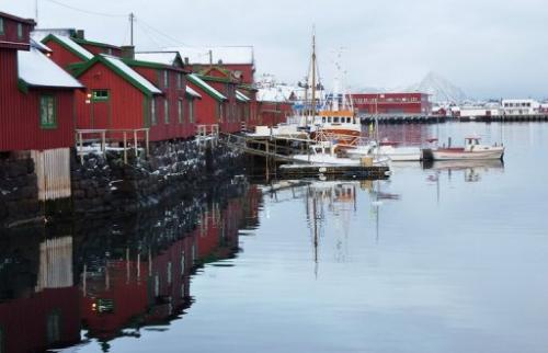 A typical fishing village in Norway's Lofoten islands