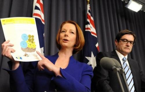 Australia Prime Minister Julia Gillard (L) and Minister for Climate Change Greg Combet, in 2011