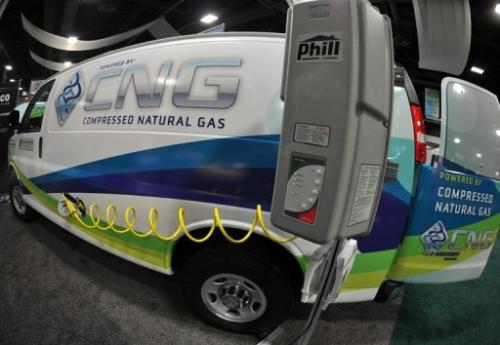 A van powered by compressed natural gas