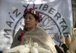 A woman from Xochimilco takes part in the 'National Day of Corn' in Zocalo Square in Mexico City, in 2011