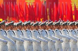 Chinese People's Liberation Army (PLA) naval officers marching past Tiananmen Square in 2009