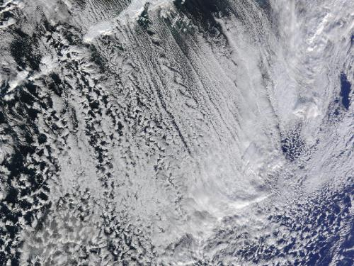 Cloud streets off of the Aleutian Islands