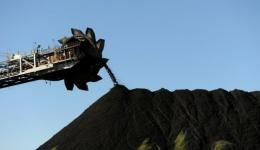 Coal is stockpiled at the coal port of Newcastle in Australia's New South Wales state in April 2012
