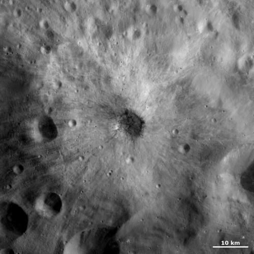 Crater with dark and bright ejecta
