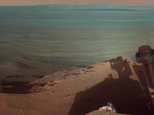 Dark shadows on Mars: Scene from durable NASA Rover