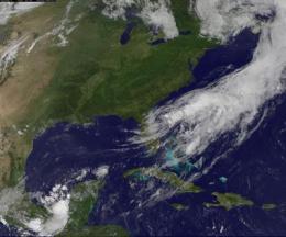 Debby now exiting Florida's east coast, disorganized on satellite imagery