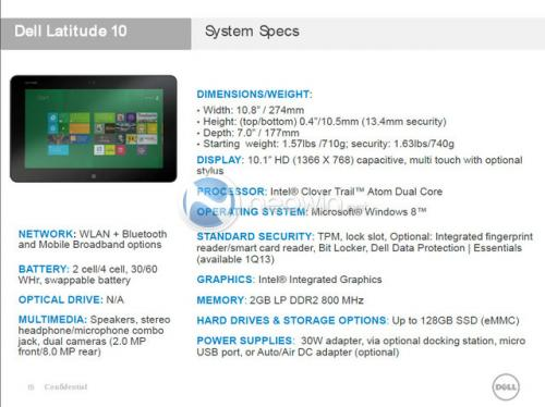 Dell tablet leak: 10.1-inch display, two-battery choice