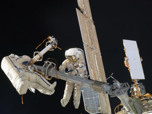 Expedition 30 cosmonauts perform spacewalk