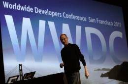 Former Apple CEO Steve Jobs delivers the keynote address at the 2011 Apple World Wide Developers Conference