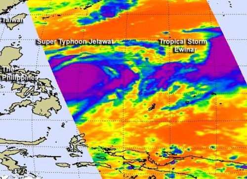 Frigid cloudtop temperatures indicate strength in Super Typhoon Jelawat and Tropical Storm Ewinar