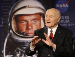 Glenn chats with space station to mark anniversary (AP)