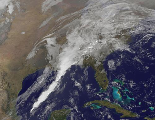 GOES-13 satellite sees 'giant white spike' of clouds bringing U.S. severe weather
