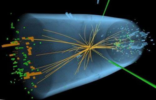 Graphic distributed on July 4, 2012 by CERN shows a representation of traces of a proton-proton collision