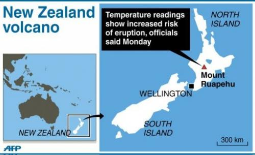 Graphic locating New Zealand's Mount Ruapehu, which is in danger of erupting