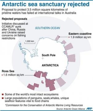 Graphic outlining a 3.5 million square kilometre proposal to protect Antarctic waters