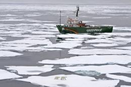 Greenpeace's My Arctic Sunrise ship on an Arctic Ocean expedition