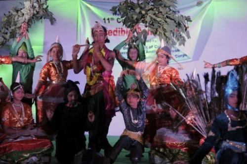 Indian artists perform a traditional dance at a cultural event during the Convention on Biodiversity