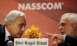 Kapil Sibal (right) with NASSCOM chairman Harsh Manglik in Mumbai today
