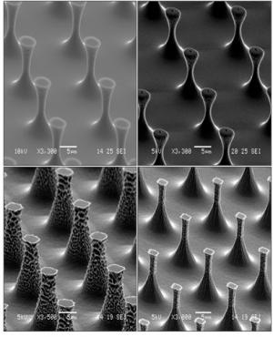 'Bed of nails' material for clean surfaces
