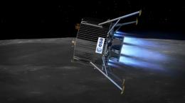 Lunar lander firing up for touchdown